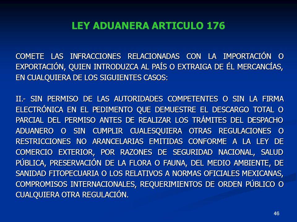 LEY ADUANERA ARTICULO 176