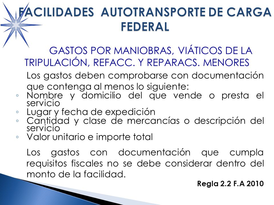 FACILIDADES AUTOTRANSPORTE DE CARGA FEDERAL