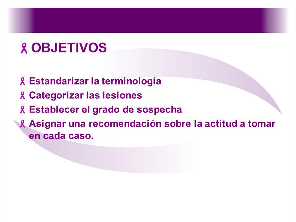 OBJETIVOS Estandarizar la terminología Categorizar las lesiones