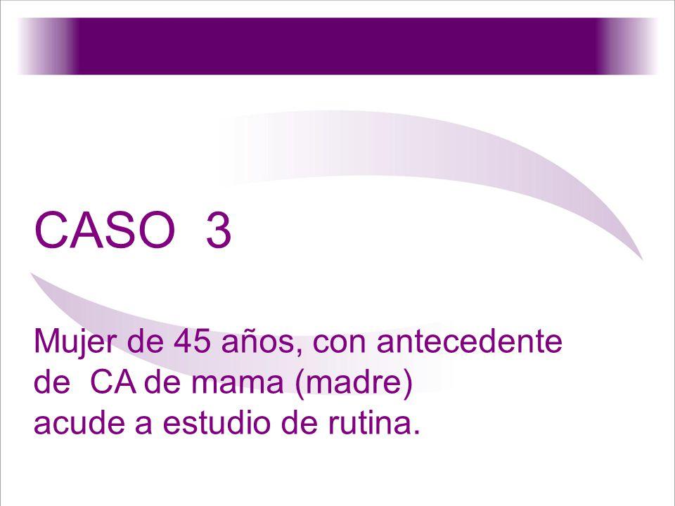 CASO 3 Mujer de 45 años, con antecedente de CA de mama (madre)