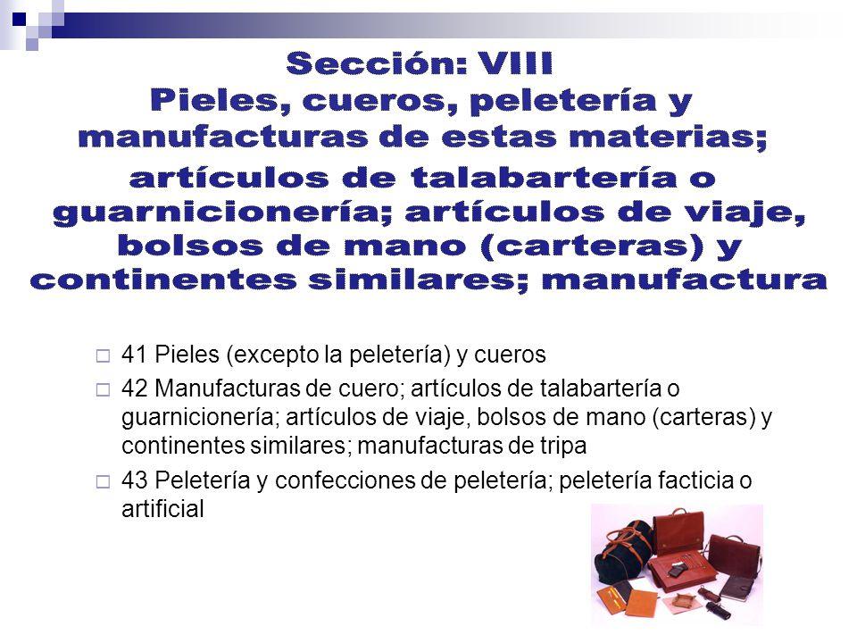 Pieles, cueros, peletería y manufacturas de estas materias;