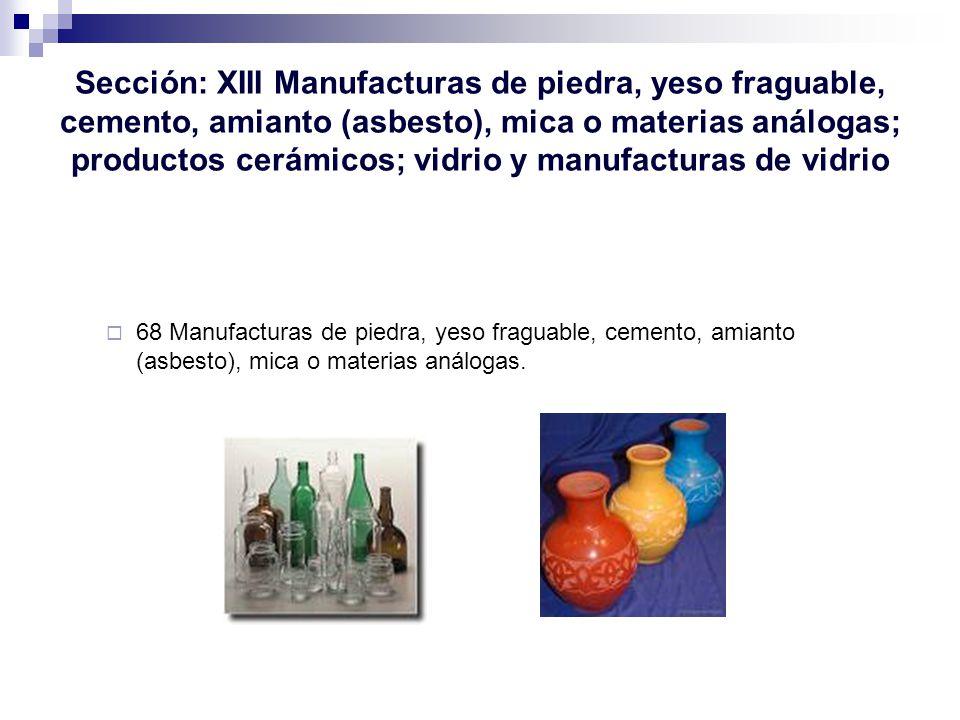 Sección: XIII Manufacturas de piedra, yeso fraguable, cemento, amianto (asbesto), mica o materias análogas; productos cerámicos; vidrio y manufacturas de vidrio