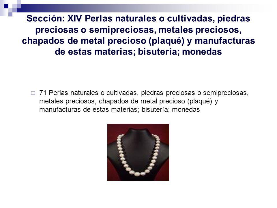 Sección: XIV Perlas naturales o cultivadas, piedras preciosas o semipreciosas, metales preciosos, chapados de metal precioso (plaqué) y manufacturas de estas materias; bisutería; monedas
