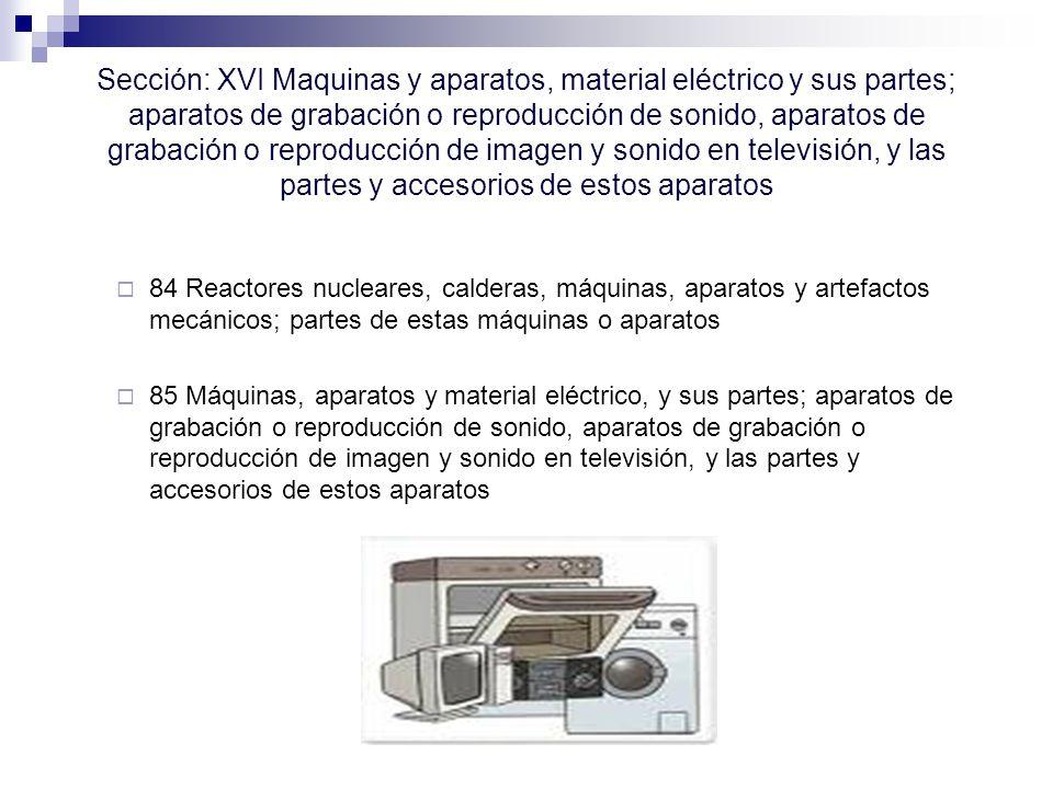 Sección: XVI Maquinas y aparatos, material eléctrico y sus partes; aparatos de grabación o reproducción de sonido, aparatos de grabación o reproducción de imagen y sonido en televisión, y las partes y accesorios de estos aparatos