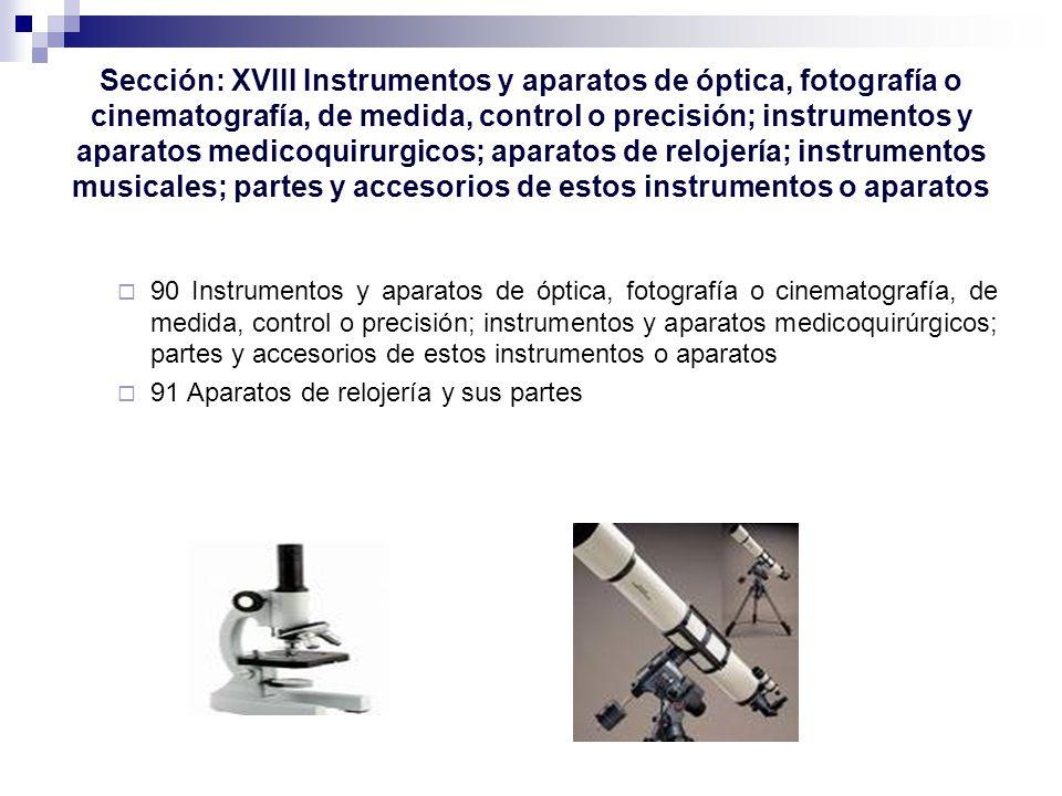 Sección: XVIII Instrumentos y aparatos de óptica, fotografía o cinematografía, de medida, control o precisión; instrumentos y aparatos medicoquirurgicos; aparatos de relojería; instrumentos musicales; partes y accesorios de estos instrumentos o aparatos