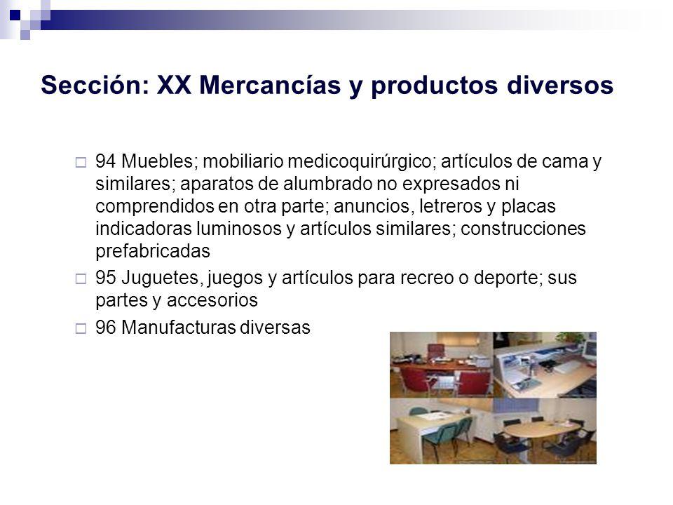 Sección: XX Mercancías y productos diversos