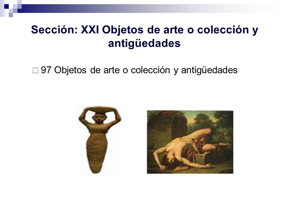 Sección: XXI Objetos de arte o colección y antigüedades