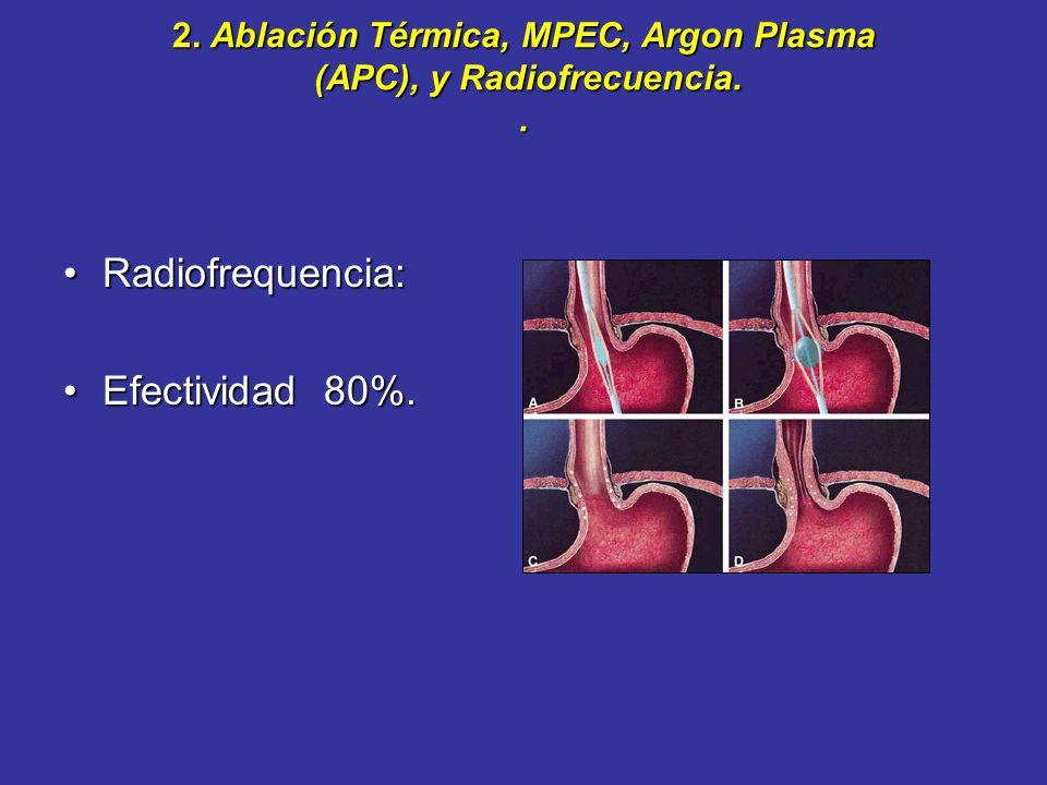 2. Ablación Térmica, MPEC, Argon Plasma (APC), y Radiofrecuencia. .