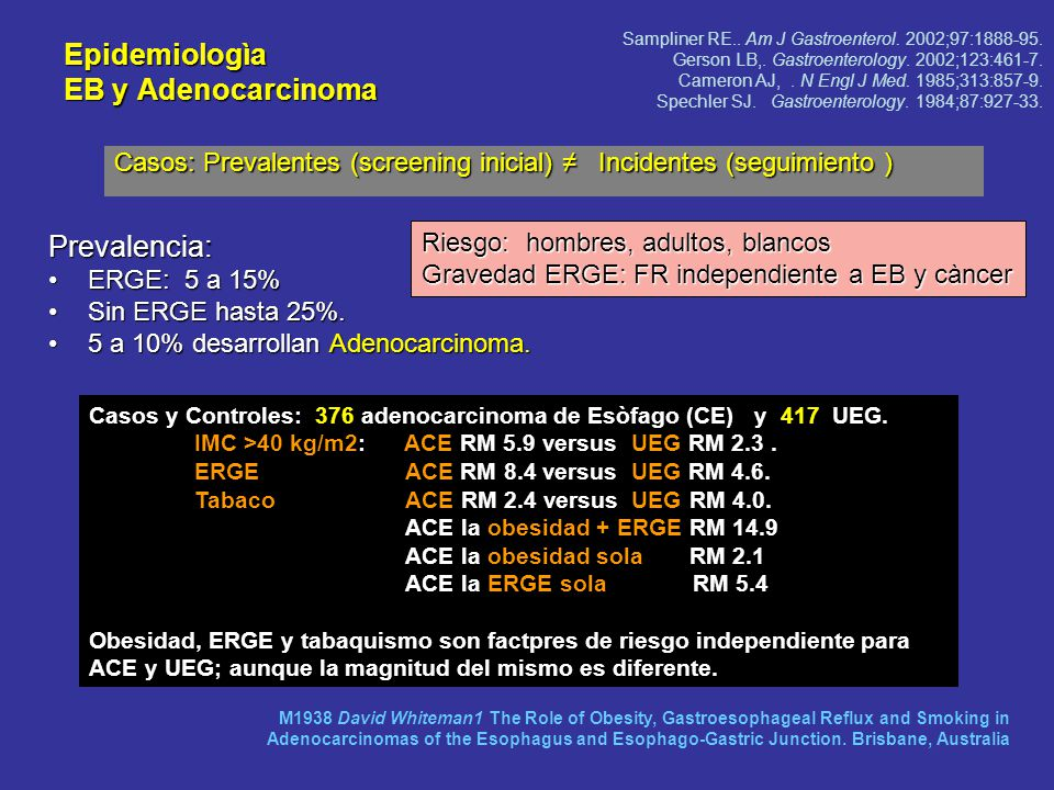 Epidemiologìa EB y Adenocarcinoma
