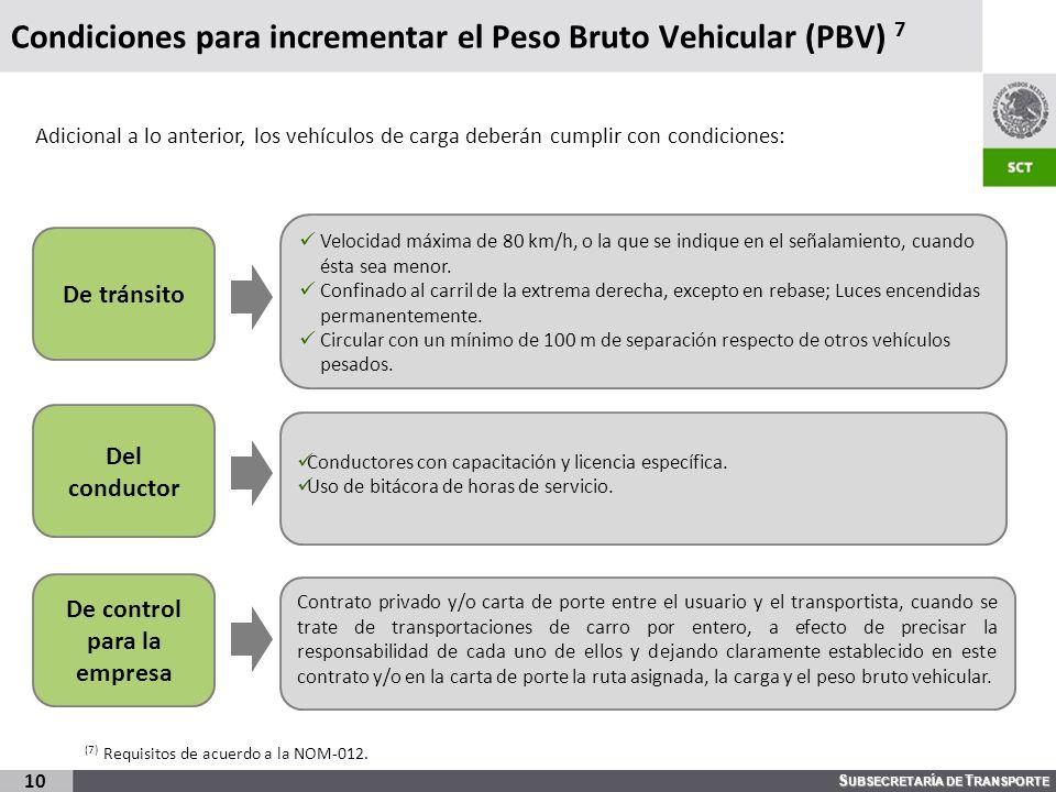 Condiciones para incrementar el Peso Bruto Vehicular (PBV) 7