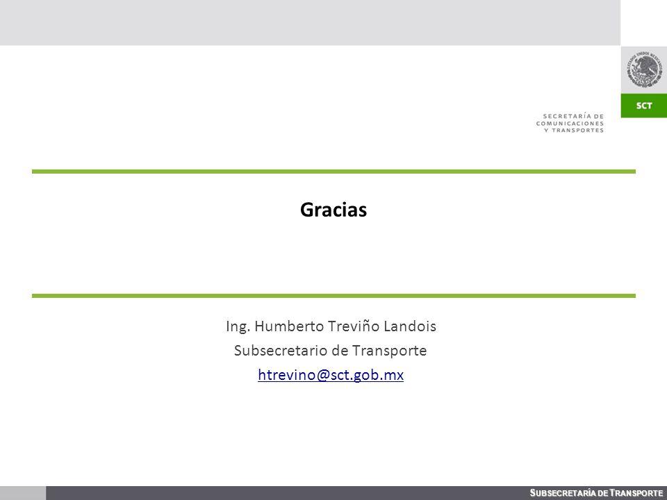 Gracias Ing. Humberto Treviño Landois Subsecretario de Transporte