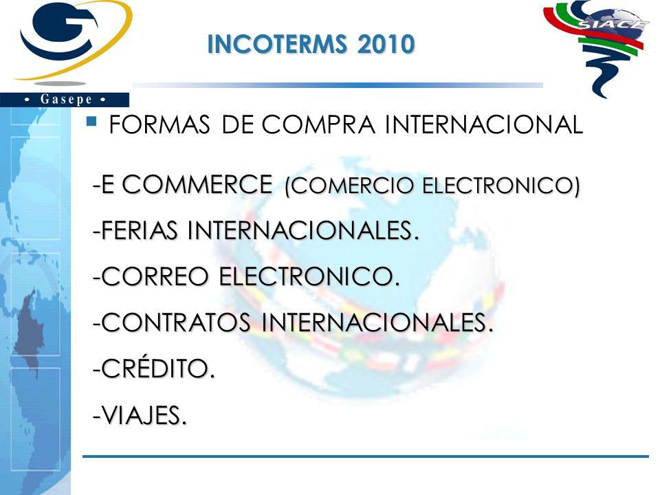 INCOTERMS 2010 FORMAS DE COMPRA INTERNACIONAL. E COMMERCE (COMERCIO ELECTRONICO) FERIAS INTERNACIONALES.
