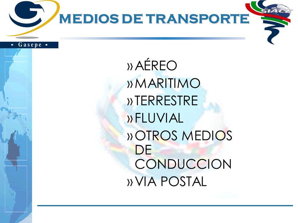 MEDIOS DE TRANSPORTE AÉREO MARITIMO TERRESTRE FLUVIAL OTROS MEDIOS DE CONDUCCION VIA POSTAL