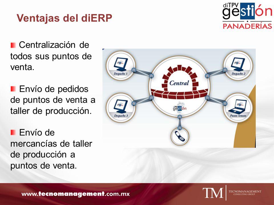 Ventajas del diERP Centralización de todos sus puntos de venta.