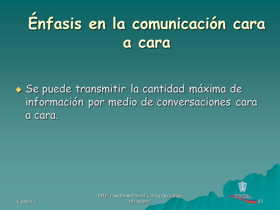 Énfasis en la comunicación cara a cara
