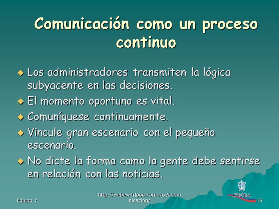 Comunicación como un proceso continuo