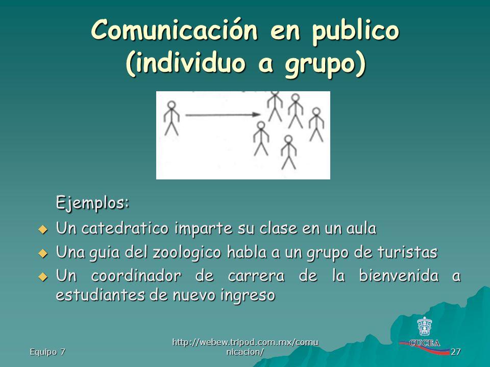 Comunicación en publico (individuo a grupo)