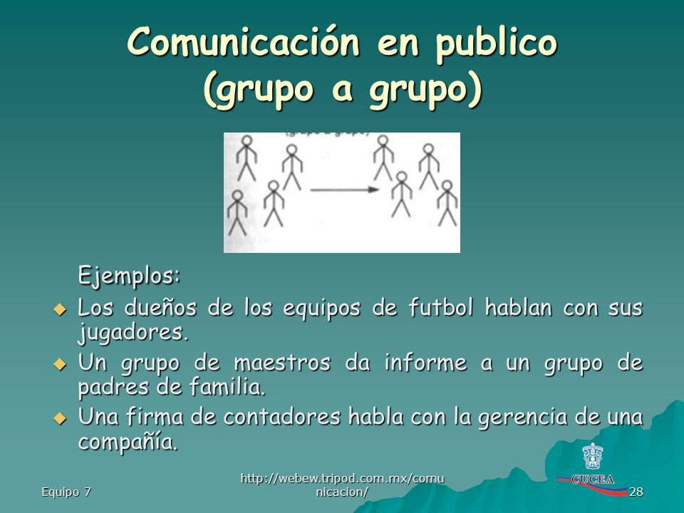 Comunicación en publico (grupo a grupo)