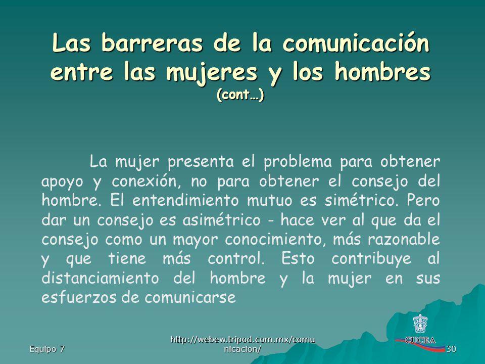 Las barreras de la comunicación entre las mujeres y los hombres (cont…)