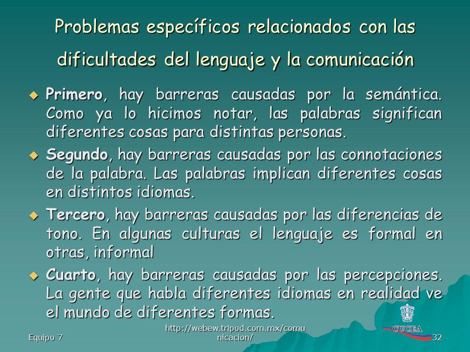 Problemas específicos relacionados con las dificultades del lenguaje y la comunicación