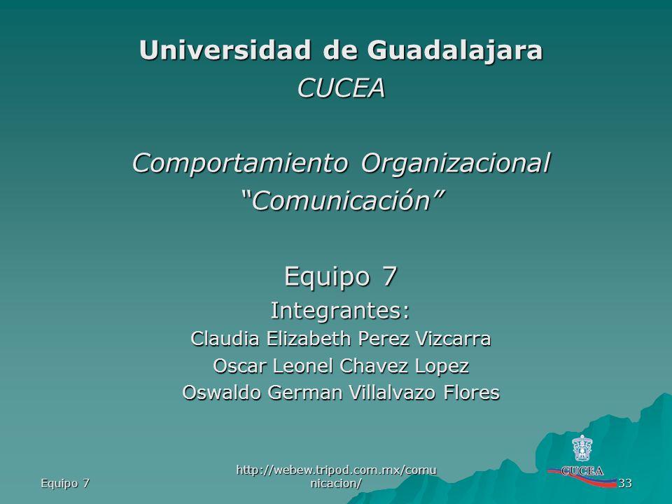 Universidad de Guadalajara CUCEA Comportamiento Organizacional