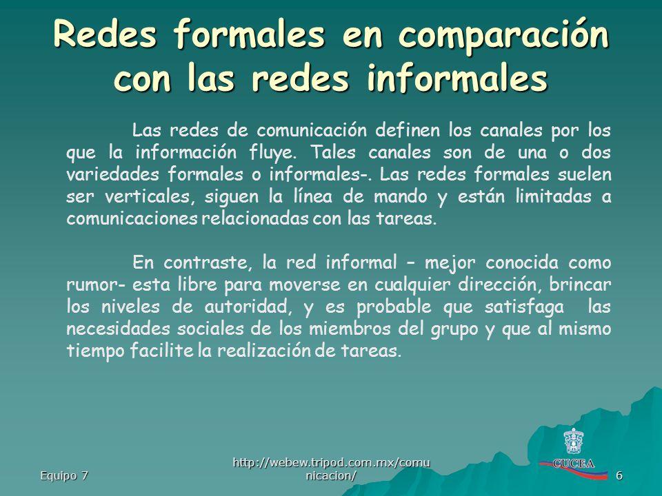 Redes formales en comparación con las redes informales