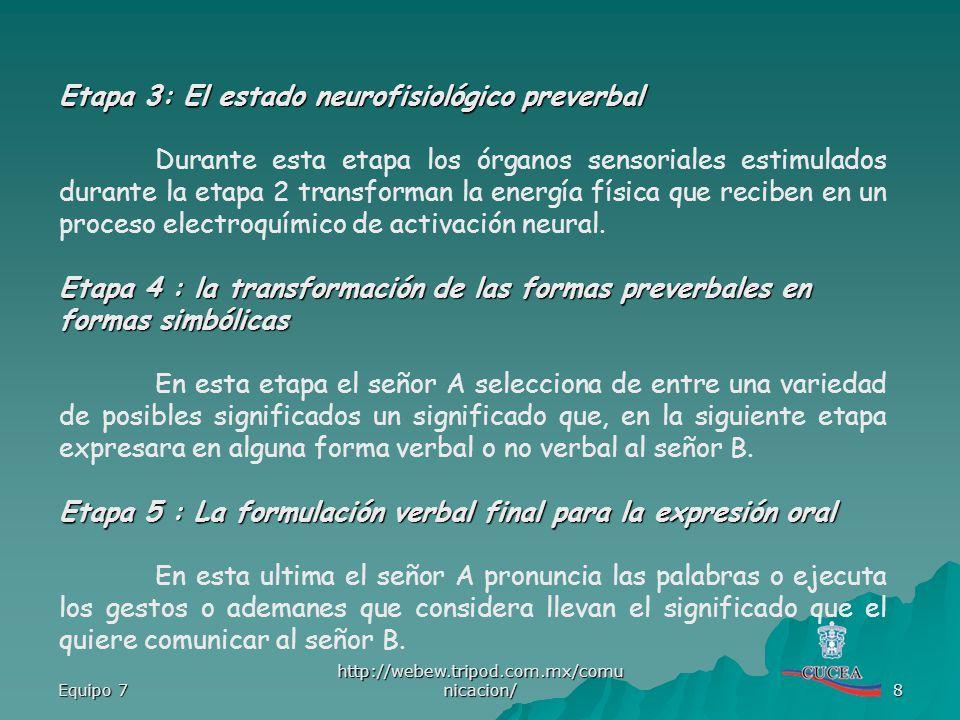 Etapa 3: El estado neurofisiológico preverbal
