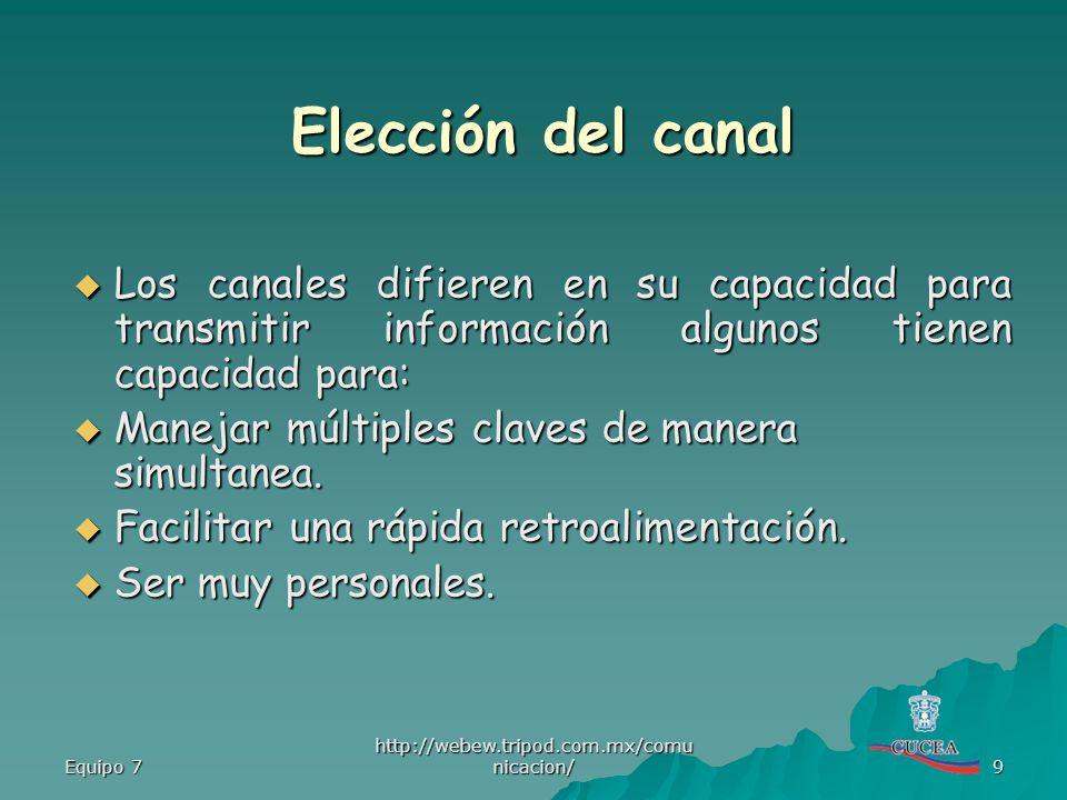 Elección del canal Los canales difieren en su capacidad para transmitir información algunos tienen capacidad para: