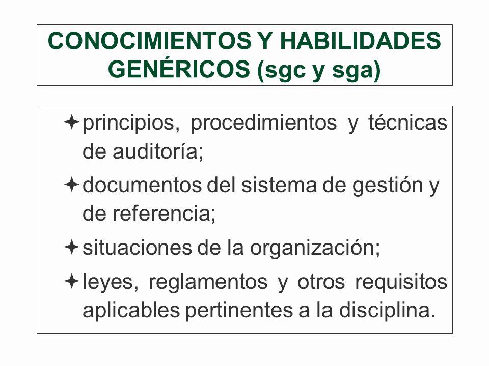 CONOCIMIENTOS Y HABILIDADES GENÉRICOS (sgc y sga)