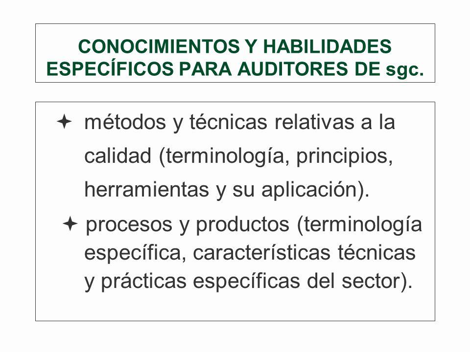 CONOCIMIENTOS Y HABILIDADES ESPECÍFICOS PARA AUDITORES DE sgc.