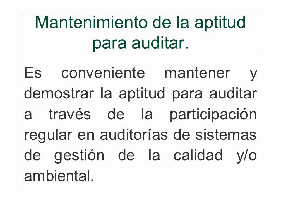 Mantenimiento de la aptitud para auditar.