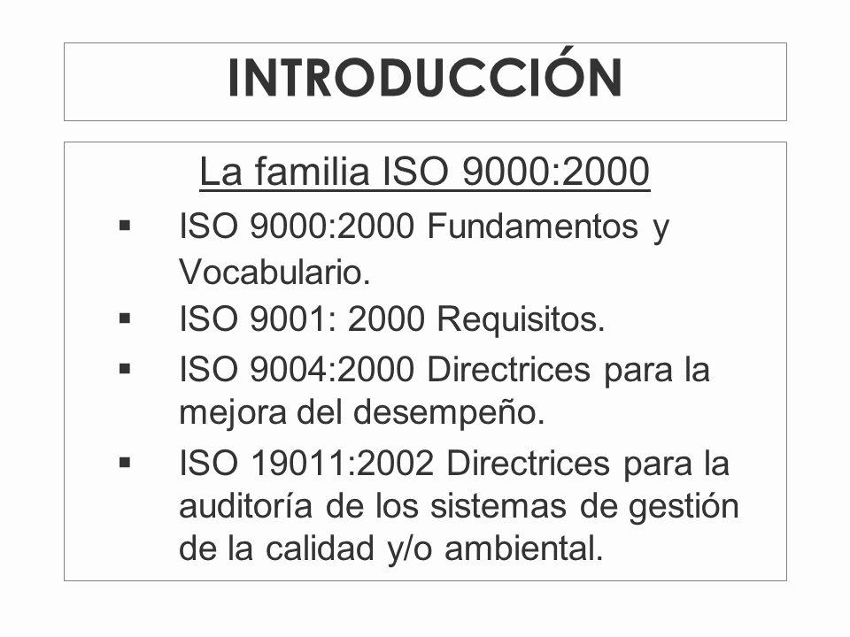 La familia ISO 9000:2000 ISO 9000:2000 Fundamentos y Vocabulario.