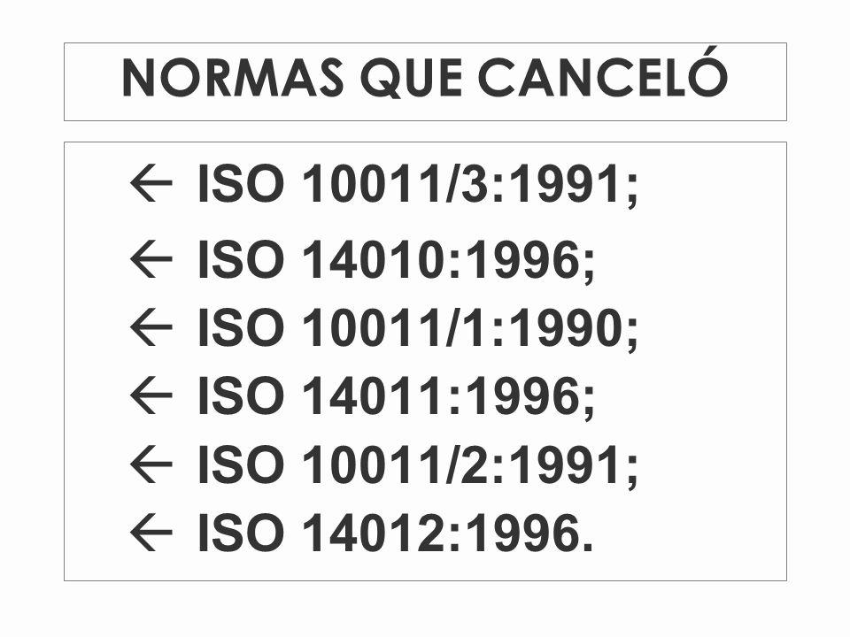 ISO 10011/3:1991; ISO 14010:1996; ISO 10011/1:1990; ISO 14011:1996;