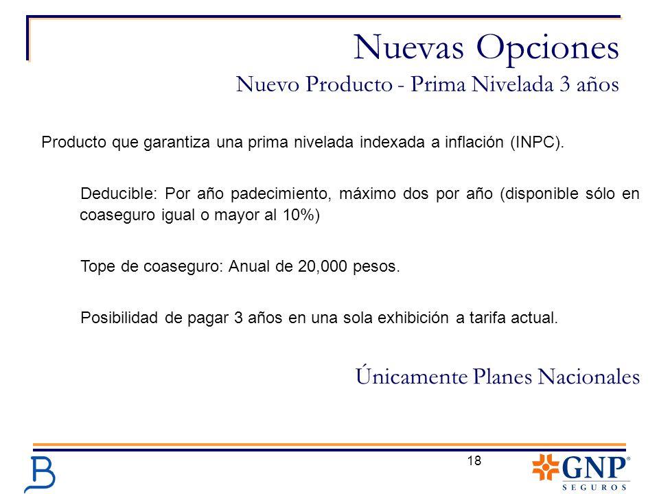 Nuevas Opciones Nuevo Producto - Prima Nivelada 3 años