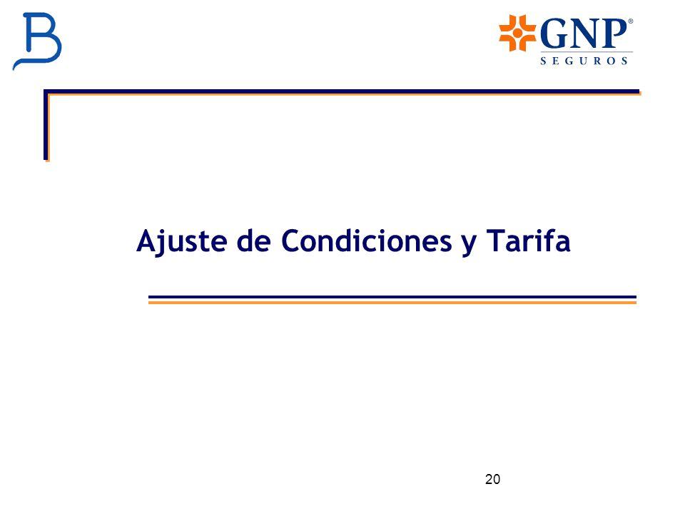 Ajuste de Condiciones y Tarifa