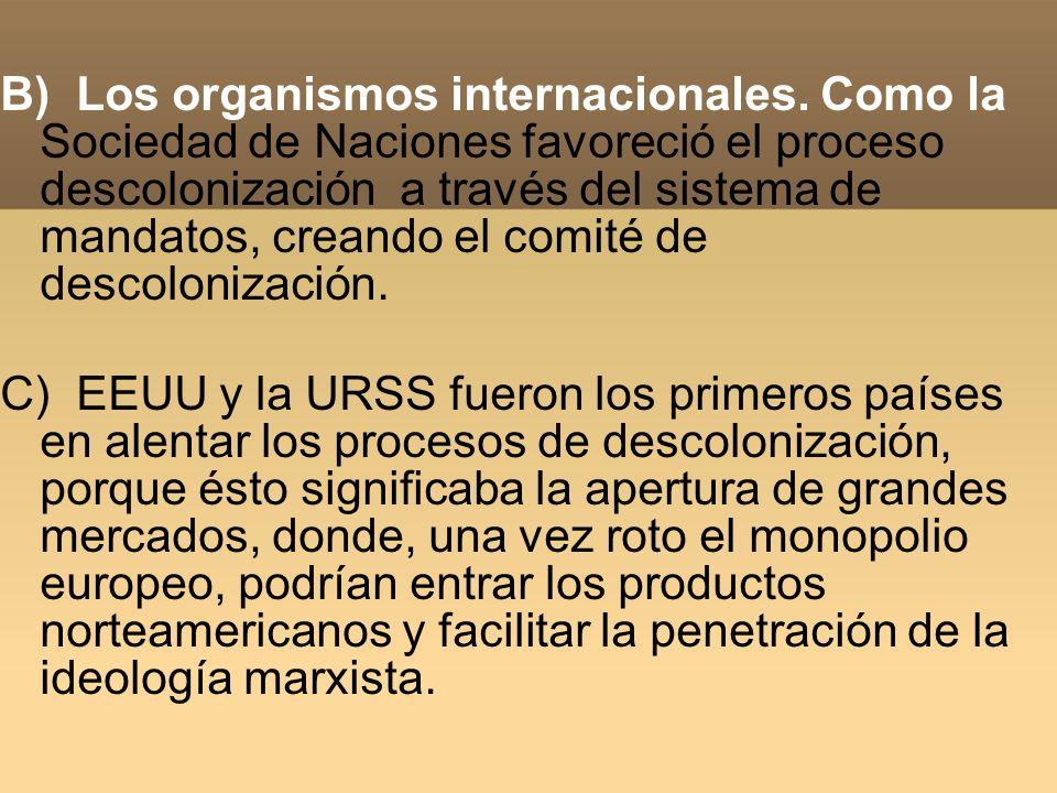 B) Los organismos internacionales