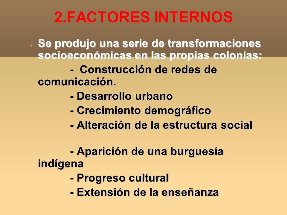 2.FACTORES INTERNOS Se produjo una serie de transformaciones socioeconómicas en las propias colonias: