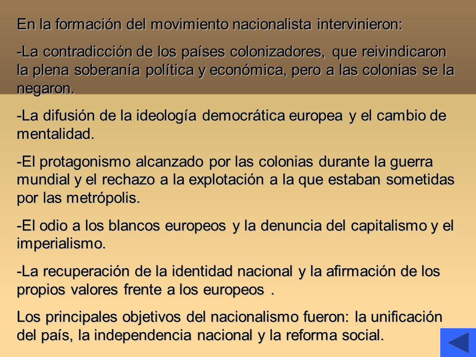 En la formación del movimiento nacionalista intervinieron: