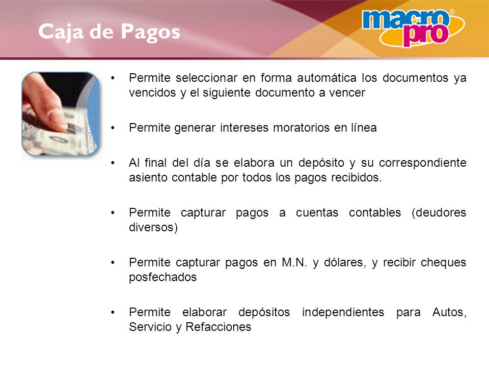 Caja de Pagos Permite seleccionar en forma automática los documentos ya vencidos y el siguiente documento a vencer.