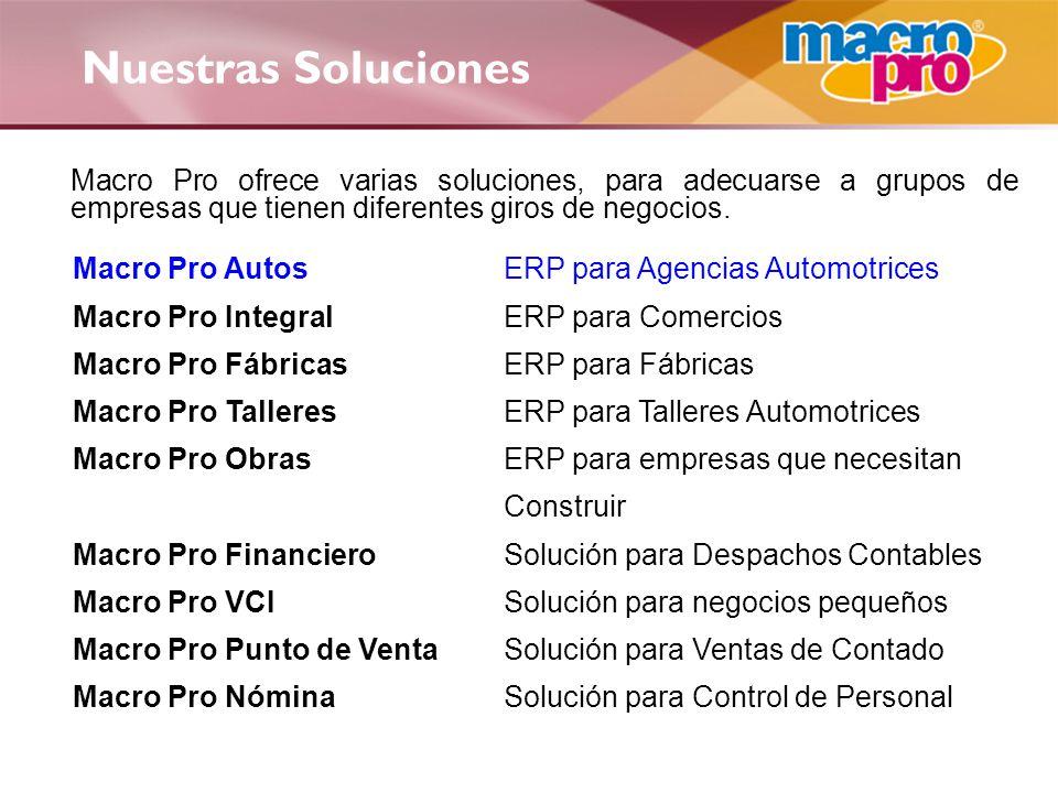 Nuestras Soluciones Macro Pro Autos ERP para Agencias Automotrices
