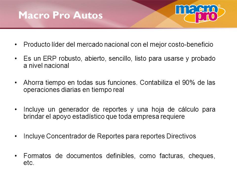 Macro Pro Autos Producto líder del mercado nacional con el mejor costo-beneficio.