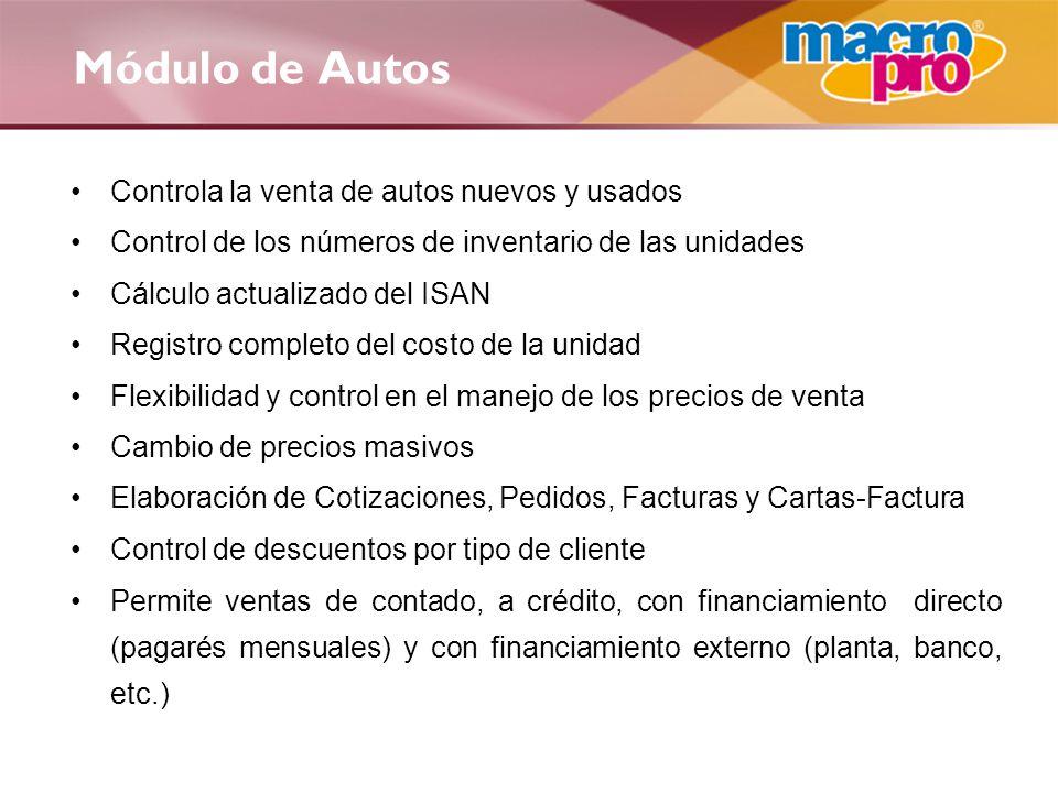 Módulo de Autos Controla la venta de autos nuevos y usados