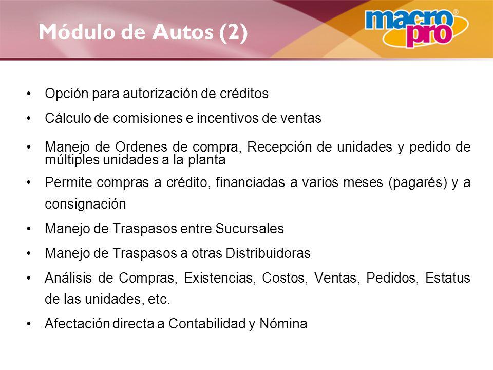 Módulo de Autos (2) Opción para autorización de créditos