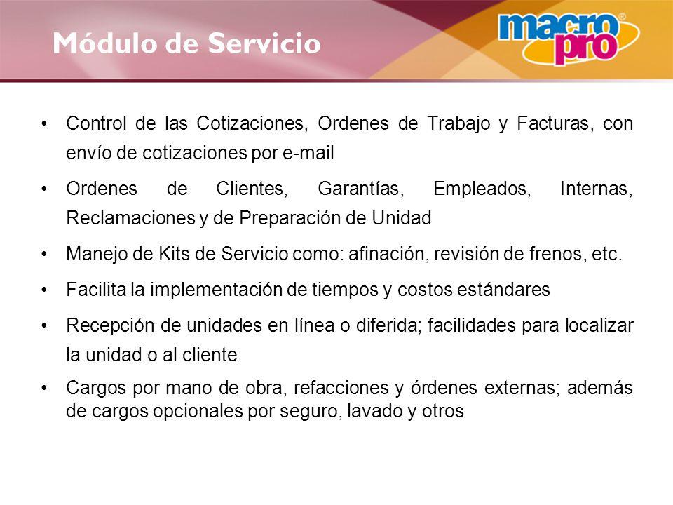 Módulo de Servicio Control de las Cotizaciones, Ordenes de Trabajo y Facturas, con envío de cotizaciones por e-mail.
