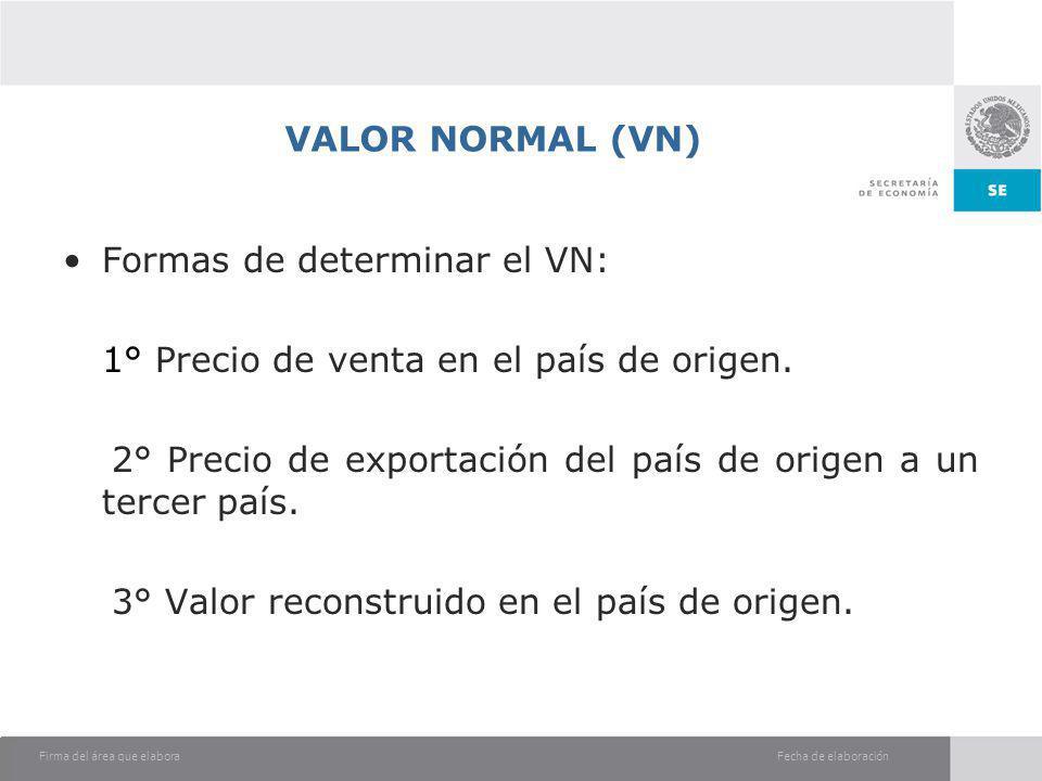 VALOR NORMAL (VN) Formas de determinar el VN: 1° Precio de venta en el país de origen.