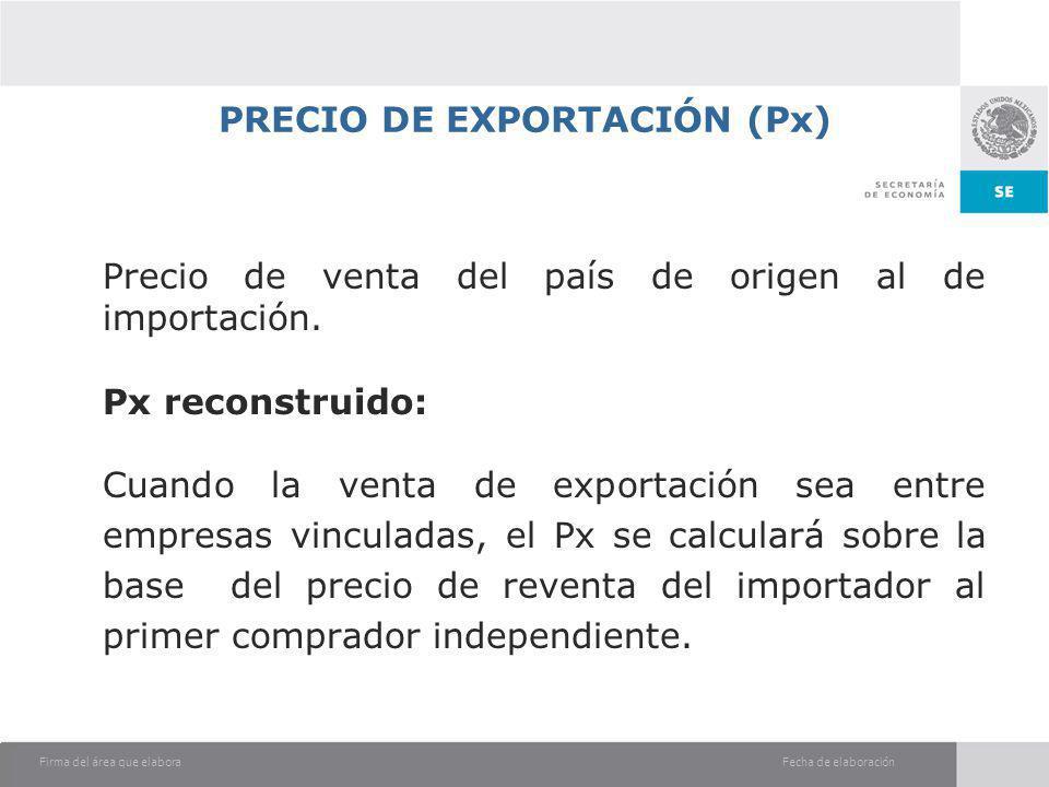 PRECIO DE EXPORTACIÓN (Px)