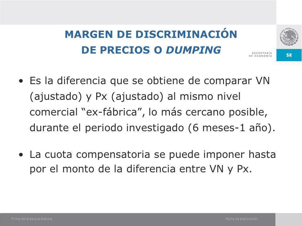 MARGEN DE DISCRIMINACIÓN DE PRECIOS O DUMPING