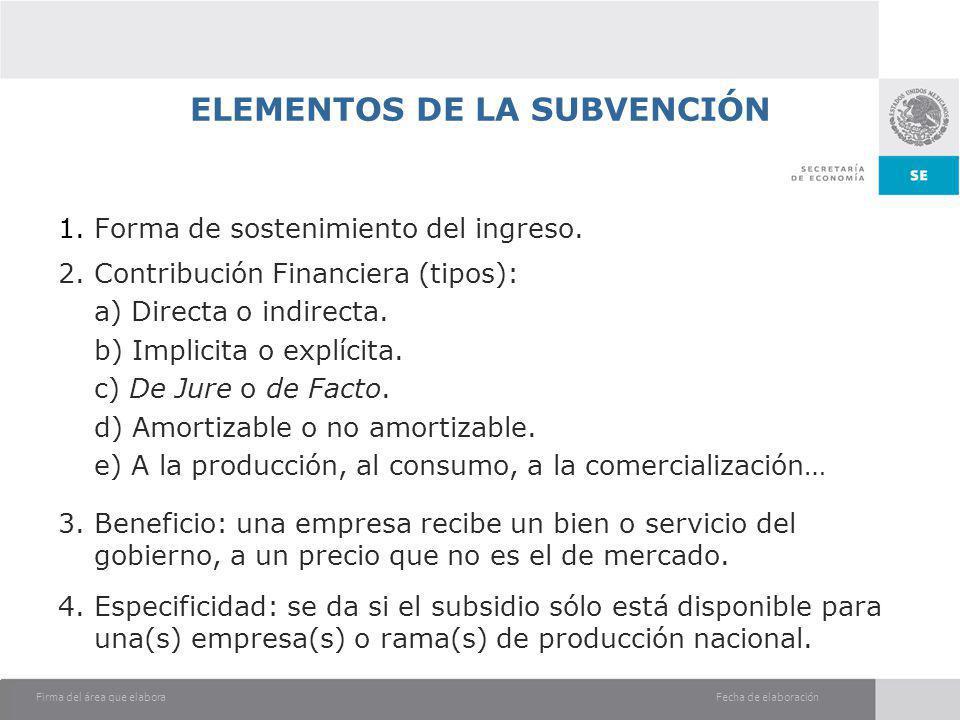 ELEMENTOS DE LA SUBVENCIÓN
