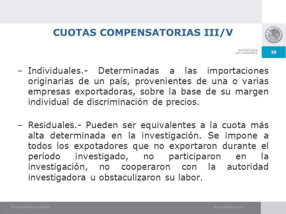 CUOTAS COMPENSATORIAS III/V