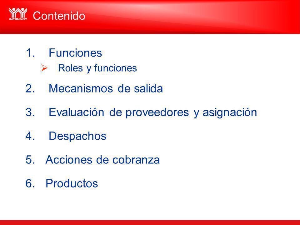 Evaluación de proveedores y asignación Despachos Acciones de cobranza